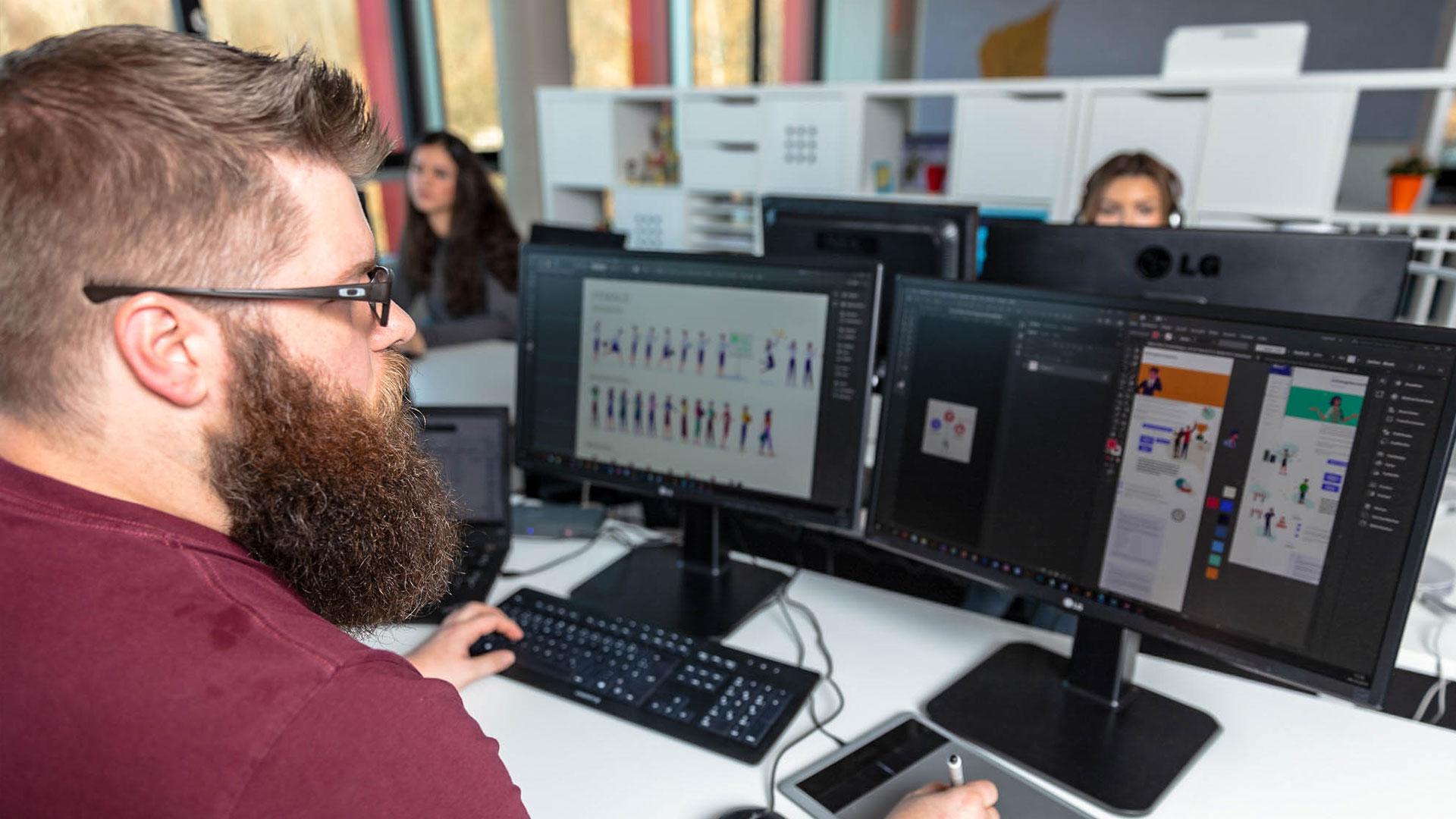 designer producing assets on computer