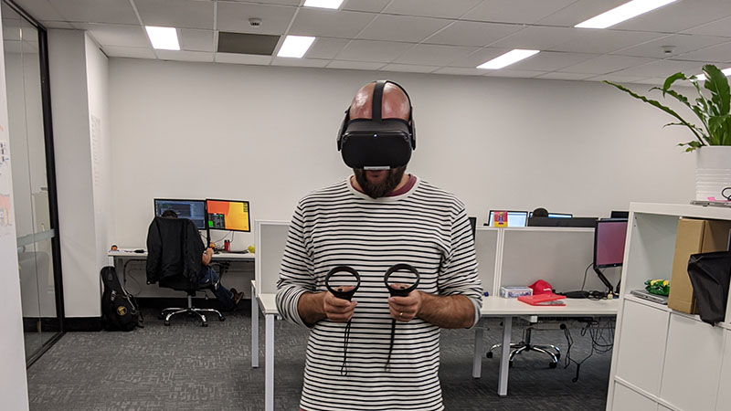 playing vr in melbourne office