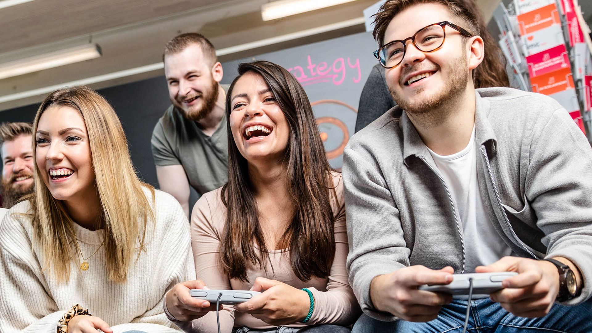 imc employees playing video games